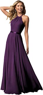 Women's Bridesmaid Dress Open Back A-Line Evening Party Gowns