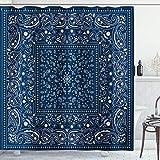 AMBZEK Blue Paisley Shower Curtain Bandana Bathroom Set Soutwestern Boho Floral Mandala Flower Border Rustic Classic Artwork Cloth Fabric Bathroom Decor Set with 12 Pack Hooks 60Wx71L inch, Blue