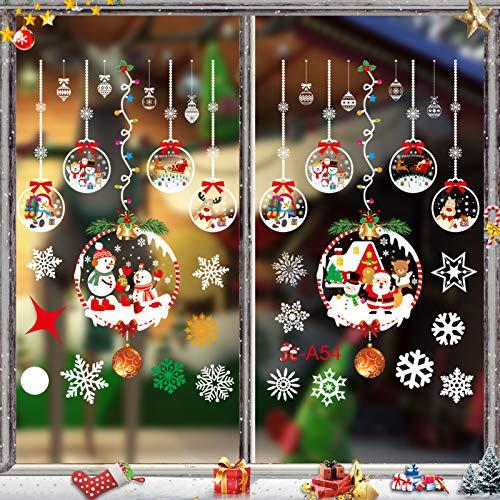 Noël Stickers Fenetre, DIY Fenêtre Noël Stickers,Noël Verre Autocollant,Fenetre Stickers,Stickers Flocons,Décalcomanie pour Decoration Noel,Autocollants DéCalcomanie NoëL,Muraux Renne (JC-A54)