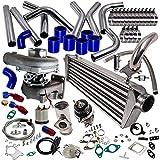 maXpeedingrods New T3 T4 T04E Universal Turbo Charger Kit Stage III + Wastegate + 2.5″ Turbo Intercooler + Piping - 10Pcs