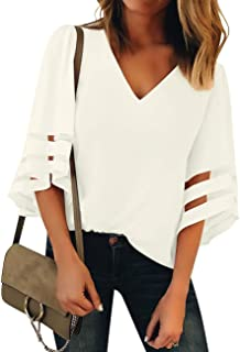 GRAPENT Women's Casual 3/4 Bell Sleeve Blouse V Neck Mesh Panel Loose Top Shirt