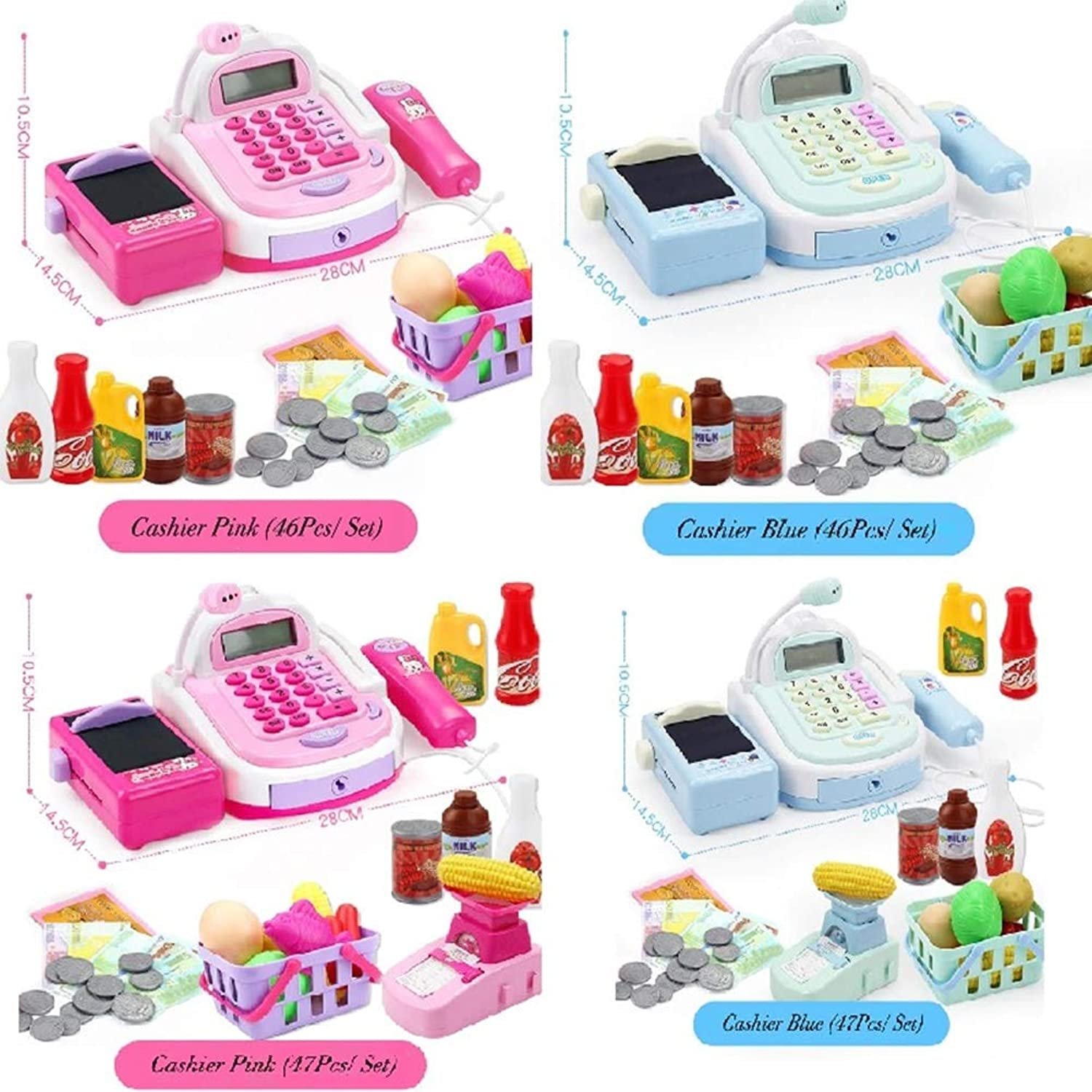 Mini Simulated Supermarket Checkout Counter Role Play Cashier Cash Register Set Kids Pretend Play Early Educational Toys