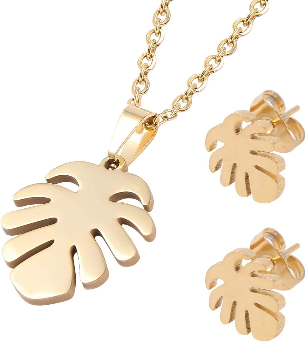 Ranking TOP17 PRETYZOOM 2 Set of Palm Earring Women Leaf Max 72% OFF Necklace Pendant