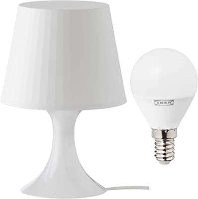 Ikea Lamplan Lampe de table avec ampoule LED E14 chaude Blanc