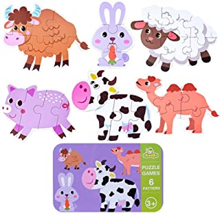 Ratus Wooden Puzzle 6Pcs Cartoon Animals, Dinosaurs, Wooden Puzzles for Cars, Rounded Edges to Protect Children with Iron Box Storage, Children's Thinking Skills Toys- Livestock Animal