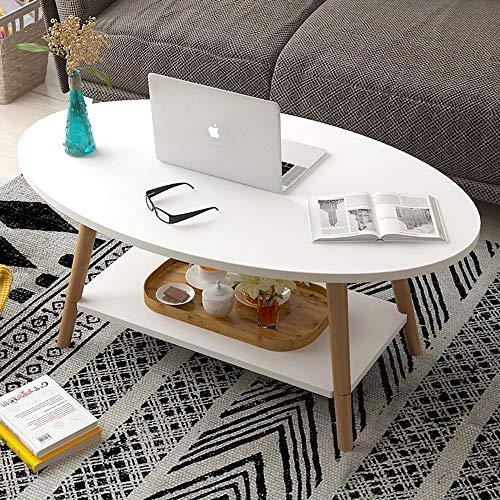 KaminHome - Mesa Centro salón Marcus Ovalada con Auxiliar balda de Madera diseño nórdico escandinava Moderno para hogar Oficina área Descanso Patas Madera (Blanco, 100 cm x 50 cm x 42 cm)