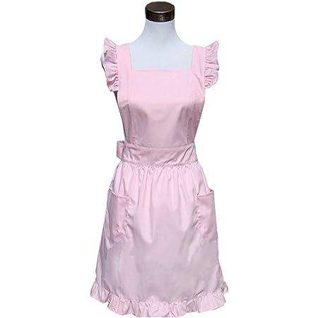 Hyzrz Lovely Sweetheart Retro Kitchen Aprons Woman Girl Cotton Cooking Salon Pinafore Vintage Apron Dress with Pocket,Purple COMIN18JU030279