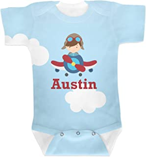 RNK Shops Airplane & Pilot Baby Onesie (Personalized)