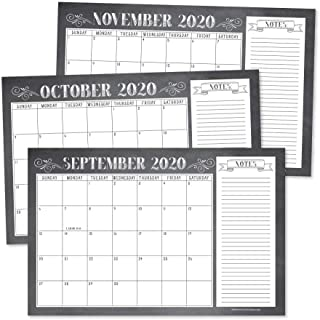 Chalkboard Rustic 2020-2021 Large Monthly Desk or Wall Calendar Planner Big Giant Planning Blotter Pad, 18 Month Academic ...