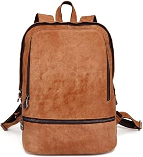 Layer Cowhide Leather Bags Brown Genuine Leather Trendy College Backpack for Men (Color : Brown, Size : S)