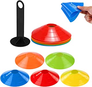 15pcs Agility Disc Cone Set Multi Sport Training Space Cones with Plastic Stand Holder for Soccer Football Ball Game Disc ...