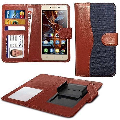N4U Online Various Farben Clip auf Dual Faser Buch Schutzhülle Hülle für HTC Desire 620G Dual SIM - Blau