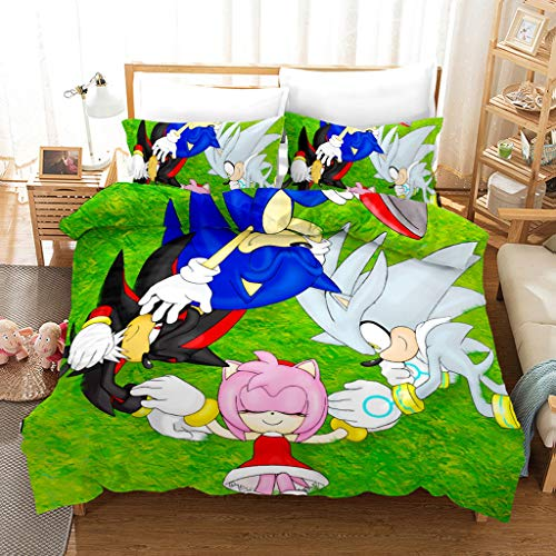 Funda Nórdica Suave Y Duradera Juego De Cama Sonic Funda Nórdica Sonic Hedgehog Individual Y Doble (con 2 Fundas De Almohada) Funda Nórdica De Microfibra De Algodón para Niños,200 * 200cm