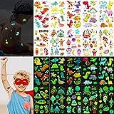 Qpout - Juego De Tatuajes Temporales De Dinosaurio y Espacio, 122 Piezas, Tatuajes Falsos Luminosos Para Niños, Pegatinas De Fiesta Para Niños, 10 Hojas Que Brillan En La Oscuridad, Bolsas De Regalos