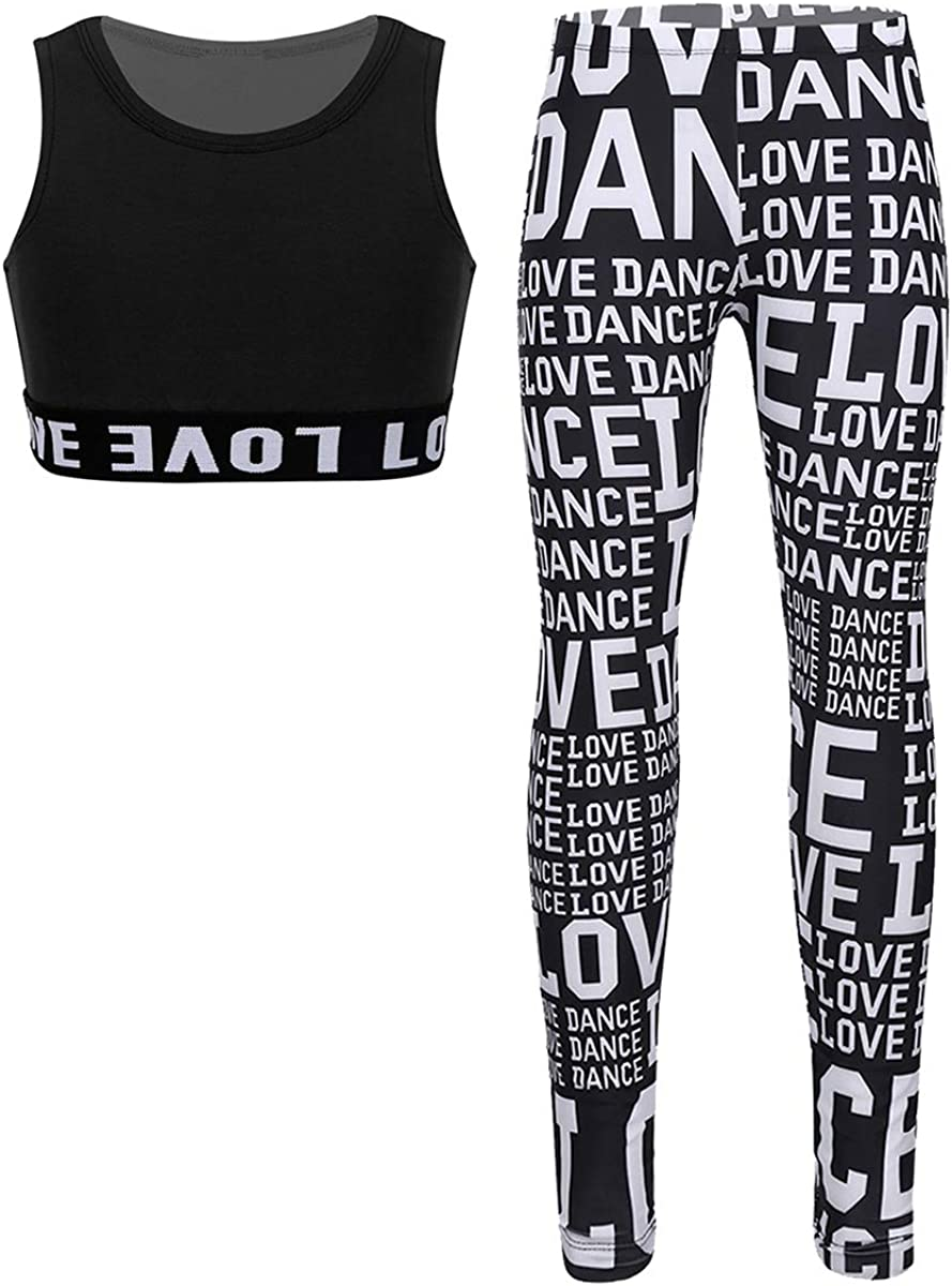 FEESHOW 2PCS Girls Athletic Sports Bra Crop Tank Top with High Waist Legging Pants Gymnastic Dance Workout Fitness Set