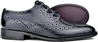 Kilt Society Mens Black Leather Scottish Ghilie Kilt Brogues
