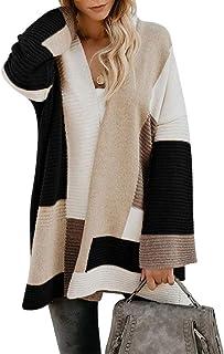 Shallood Cardigan Donna Boho Maglia a Maniche Lunghe Casual a Righe Cardigan Aperto Maglione Cappotto Colorato Colore a Co...