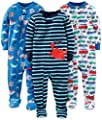 Simple Joys by Carter's Baby Boys' 3-Pack Snug Fit Footed Cotton Pajamas, Crab/Sea Creatures/Cars, 2T