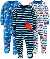 Simple Joys by Carter's Baby Boys' 3-Pack Snug-Fit Footed Cotton Pajamas, Crab/Sea Creatures/Cars, 12 Months