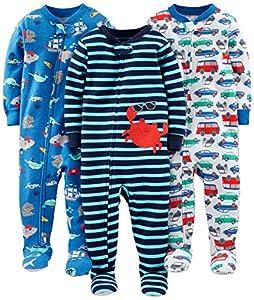 Simple Joys by Carter's pijama de algodón para bebés y niños pequeños, 3 unidades ,Crab/Sea Creatures/Cars ,6-9 Meses