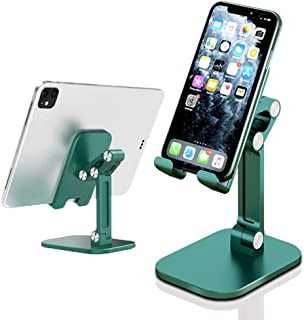 Foldable Cell Phone Stand for Desk, Adjustable Cell Phone Desk Holder with Non-slip Silicone, Liftable Mobile Phone Stand ...