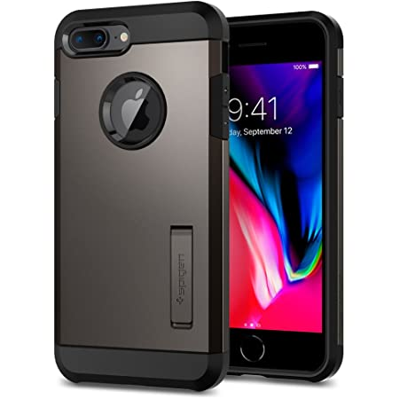 【Spigen】 iPhone8 Plus ケース / iPhone7 Plus ケース 米軍MIL規格取得 耐衝撃 スタンド機能 タフ・アーマー2 055CS22244 (ガンメタル)