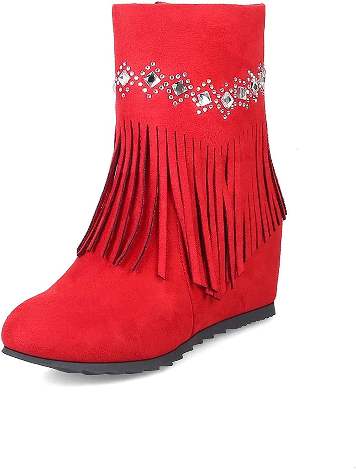 Women's Booties, Low-Heel Fall Winter Fashion Chelsea Boots Ladies Tassel Solid color Ankle Boots (color   Red Plus Hair, Size   38)