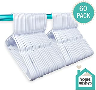 Plastic Clothes Hangers Ideal for Everyday Use, Clothing Hangers, Standard Hangers, White Hangers (60 Pack)