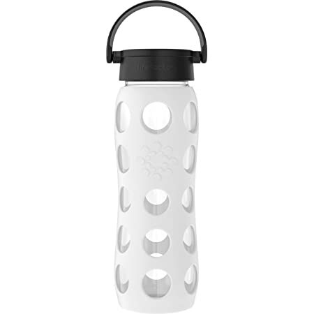 Lifefactory 22-Ounce BPA-Free Glass Water Bottle with Classic Cap and Protective Silicone Sleeve, White