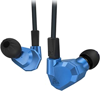 Quad Driver Headphones,ERJIGO KZ ZS5 High Fidelity Extra Bass Earbuds Without Mic,with Detachable Cable (Blue)