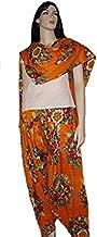 Orange Flower Print Patiala Salwar and Dupatta Set