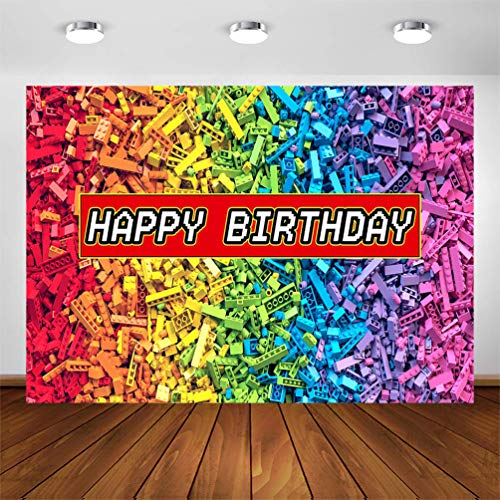 COMOPHOTO Colorful Building Blocks Birthday Party Backdrop 7x5ft Building Blocks Theme Party for Boy Girls Birthday Decorations Banner Photography Background Cake Table Banner Supplies