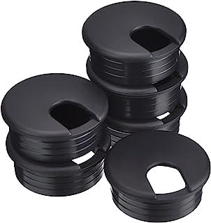 BBTO 45 mm de Pasacables de Mesa Negro Ojal de Alambre Cable de PC Arandelas de Plástico de Escritorio Agujero de Alambre Organizador de Alambre (6 Piezas)
