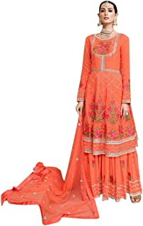 677a537c8a Orange Floral Embroidery Sharara Salwar Kameez Suit Muslim Ethnic Dress 7797
