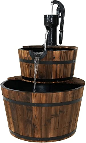 Sunnydaze Wood Barrel Outdoor Water Fountain with Hand Pump - 2-Tier Large Outside Cascading Waterfall Fountain Feature for Garden, Backyard, Patio, Porch, or Yard - Rustic, 34-Inch