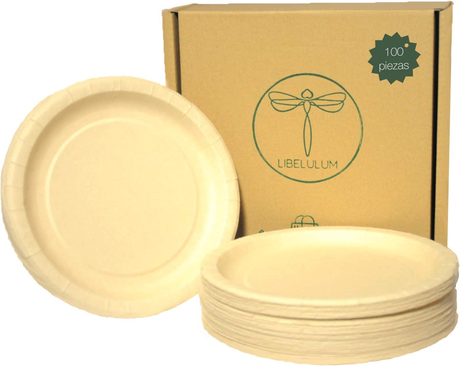 LIBELULUM 100 platos desechables de bambu, ecologicos y compostables de 20 cm de diametro.