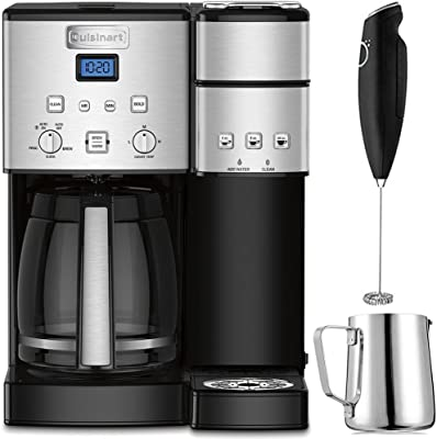 Cuisinart 12-Cup Coffee Maker and Single-Serve Brewer Stainless Steel (SS-15) Bundle with Milk Frother - Handheld Electric Foam Maker For Coffee, Latte, Cappuccino & Stainless Steel Milk Frothing Pitcher