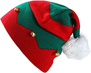 Vitality-Store Toddler Kids Christmas Knitted Elf Hat with Small Bells Contrast Color Wavy Stripes Crochet Pompom Santa Cap Party SuppliesFor Christmas Props