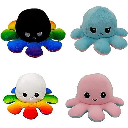 LOOLOLA 2 X Pieuvre Peluche réversible, Poulpe, Octopus Humeur Double Face, Flip Jouet Mignonne, Cadeau Enfants, Adultes pour Noel, Anniversaire (A)