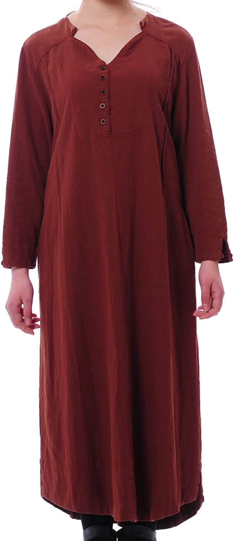HUAN XUN Maxi Linen Cameo Brown Cotton Long Sleeve Long Loose Dress Size US 12w Aolo584