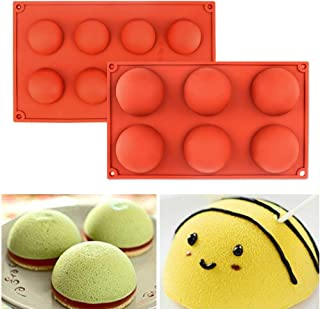 Semicircle Silicone Mold Set of 2 - Half Sphere Dome Bakeware Set for Cake Decoration, Half Circle Baking Tray for Teacake, Soap, Chocolate Desserts, Ice Cream Bombes (6 Holes & 8 Holes)