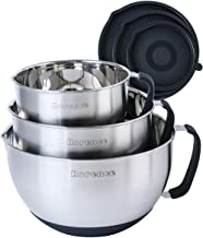 Rorence Stainless Steel Non-Slip Mixing Bowls With Pour Spout, Handle and Lid, Set of 3, Black