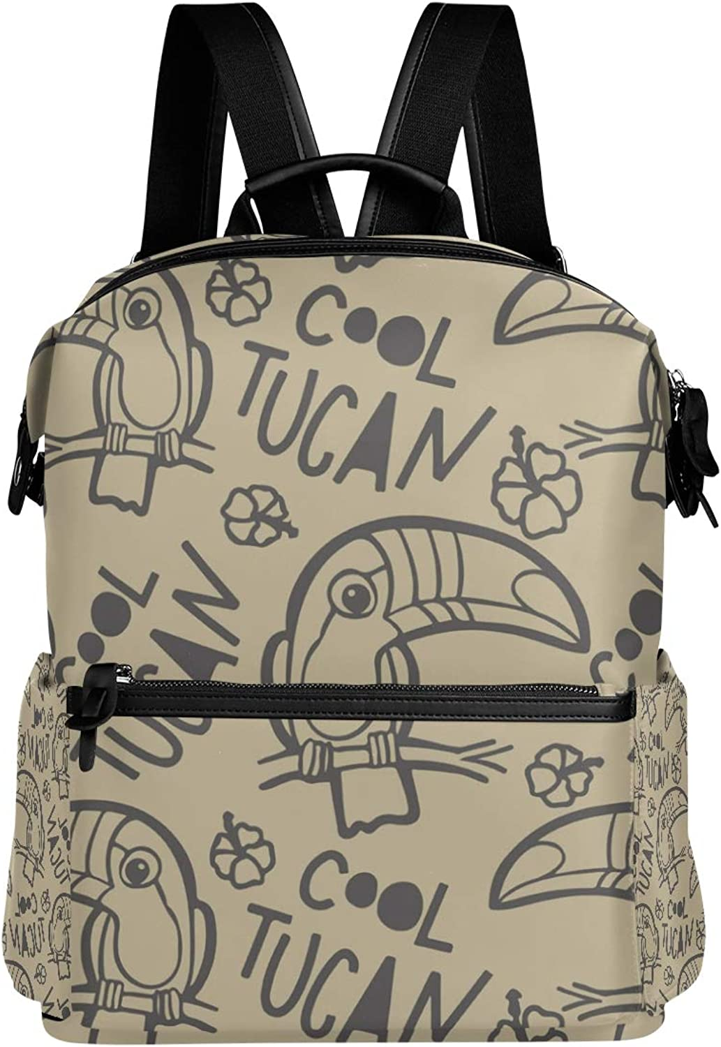 MONTOJ Cool Toucan Bird Party Leather Travel Bag Campus Backpack