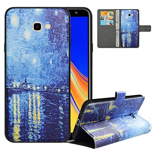LFDZ Handyhülle für Samsung J4 Plus Hülle,Premium 2in1 PU Ledertasche für J4 Core Hülle,RFID-Blocker Flip Hülle Tasche Etui Schutzhülle für Samsung Galaxy J4 Plus/J4 Prime/J4 Core[2018],Starry Night