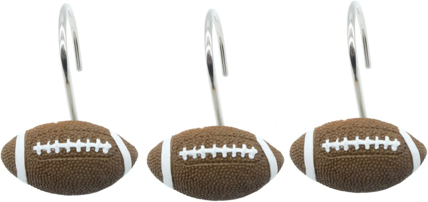 Doupoo Home Decorative Max 83% OFF Football Shower Outstanding Curtain 12 Set of Hooks