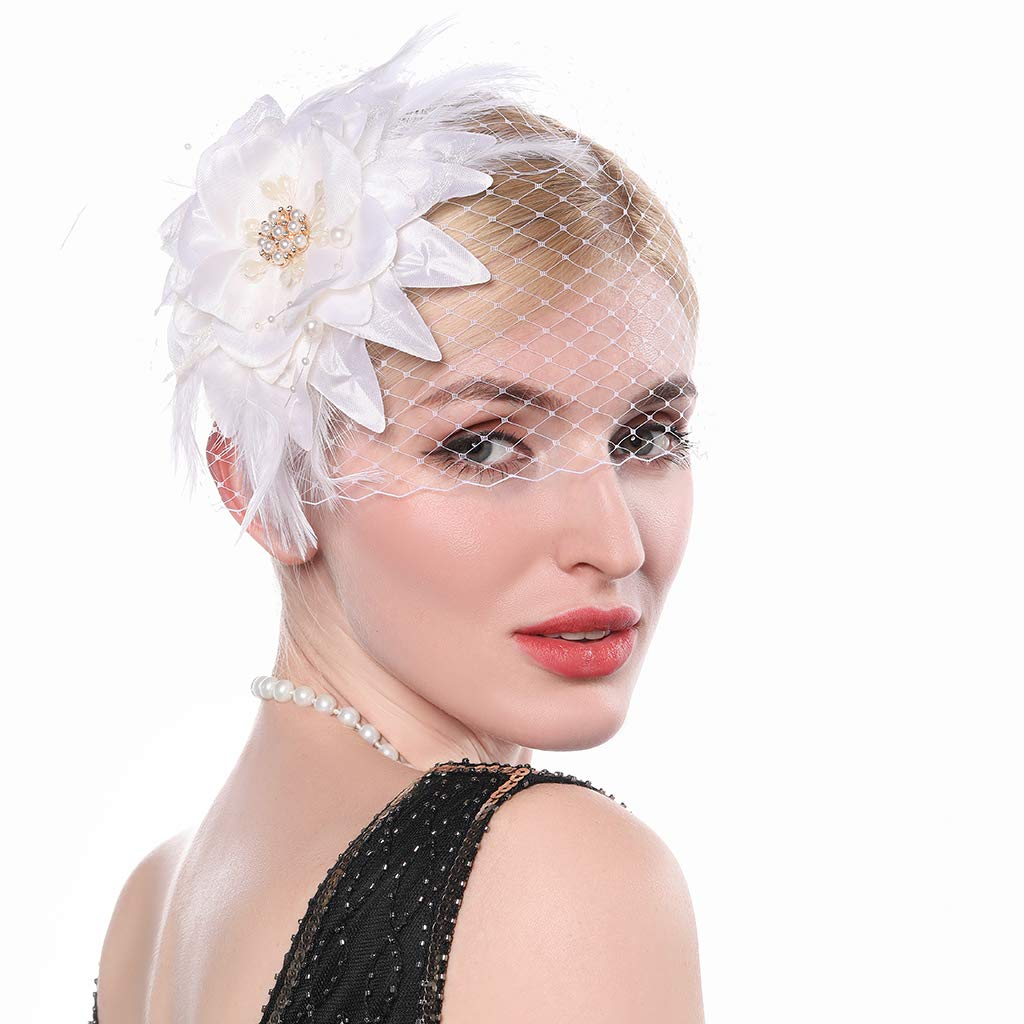 Aimimier 1920s Flapper Feather Hair Clip with Birdcage Veil Flower Fascinator White Great Gatsby Headpiece for Women and Girls