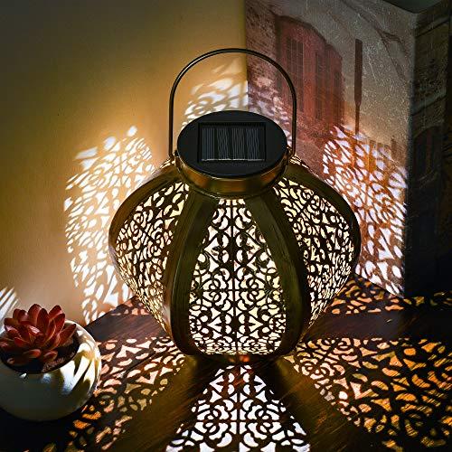 TERESA\'S COLLECTIONS Solarlaterne für außen, 29cm Runde Solarlampe für Outdoor Solar Gartendeko Gold Gartenlaterne Wasserdicht LED Solar Laterne