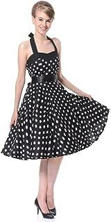 FiftiesChic Halter Neck 100% Cotton Polka Dot Floral 50s Vintage Rockabilly Swing Dress