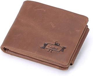 2020 Portafogli da uomo in vera pelle con tasca con cerniera per monete, Marrone