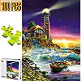 Cool Wall Decal Sticker Vinyl 100 Pieces Jigsaw Puzzles Puzzle Artwork Art for Teen Adult Grown Up Puzzles Large Size Toy Educational Games Gift 100 PCS Home Decor Toys Games (Lighthouse)